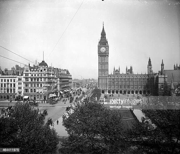 Palace of Westminster and Big Ben as seen from the west across Parliament Square London The Palace was completed to the Gothic designs of Sir Charles...