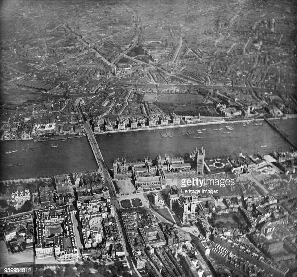 Palace of Westminster London 1909 Aerial view of the Houses of Parliament Westminster Abbey and the River Thames taken from the balloon Corona on the...