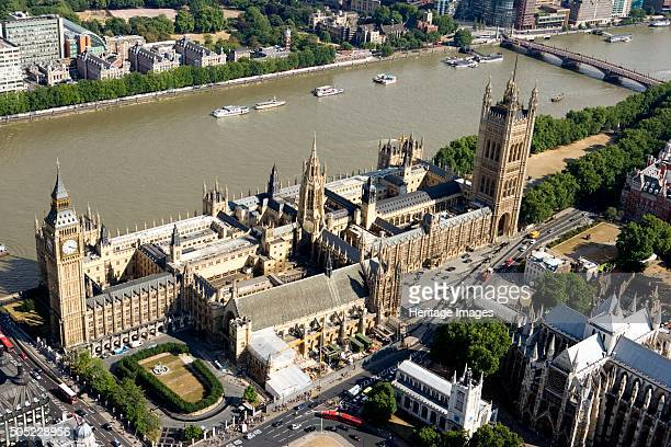 Palace of Westminster London 2006 Aerial view of the Houses of Parliament and the River Thames Artist Historic England Staff Photographer