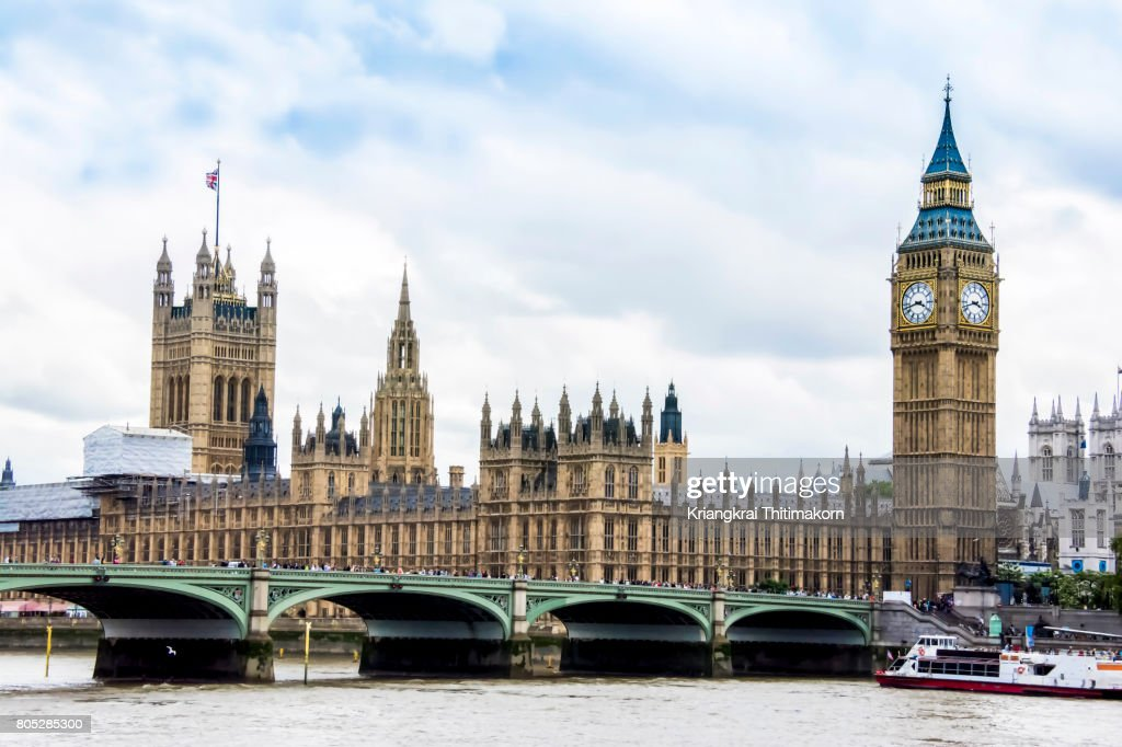 Palace of Westminster with Elizabeth Tower, London, England. : Stock Photo