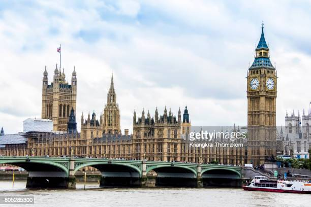 Palace of Westminster with Elizabeth Tower, London, England.