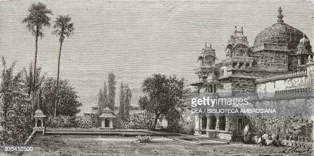 Palace on Jag Mandir island Udaipur engraving from India travel in Central India and Bengal by Louis Rousselet