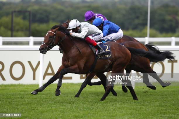 Palace Pier ridden by Frankie Dettori wins the St James's Palace Stakes during Day Five of Royal Ascot 2020 at Ascot Racecourse on June 20, 2020 in...