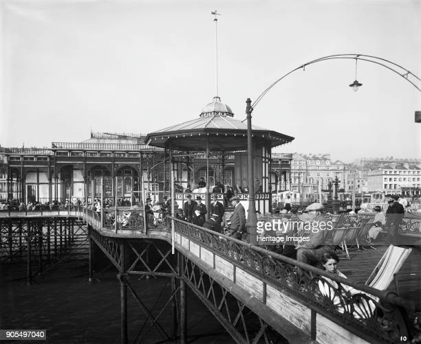 Palace Pier St Leonards on Sea Hastings East Sussex 1919 Holidaymakers enjoying the summer sun while a band plays on the bandstand The pier was...
