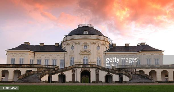 palace solitude front stuttgart dramatic sunset spring - stuttgart stock pictures, royalty-free photos & images