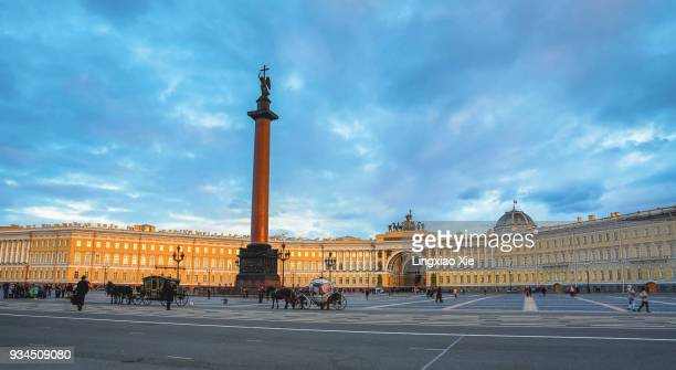 Palace Square and Winter Palace at dusk, St. Petersburg, Russia