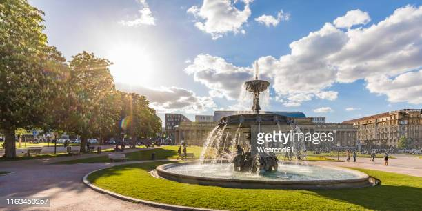 palace square with fountain in front of koenigsbau, stuttgart, germany - stuttgart stock pictures, royalty-free photos & images