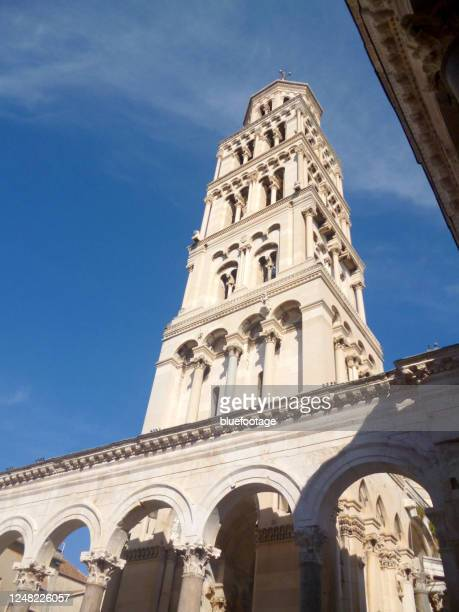 palace stone tower in split, croatia - bluefootage stock pictures, royalty-free photos & images