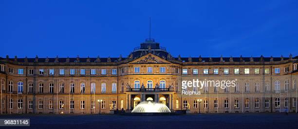 palace stuttgart blue hour front - castle square stock pictures, royalty-free photos & images