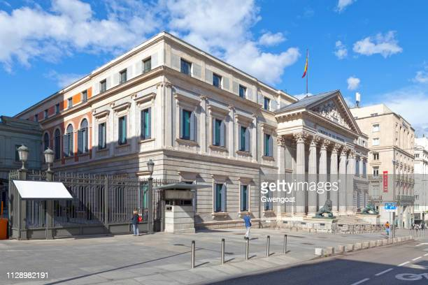 palacio de las cortes in madrid - congress of deputies stock pictures, royalty-free photos & images