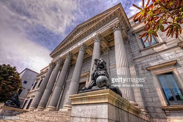 palacio de las cortes of spain in madrid - congress of deputies stock pictures, royalty-free photos & images