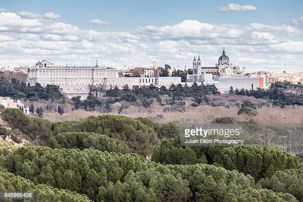 Palacio Real and the cathedral in Madrid, Spain.
