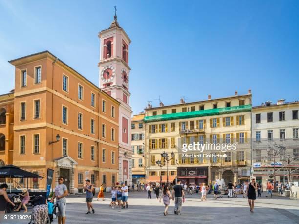 palais rusca & tour de l'horloge nice, côte d'azur - clock tower stock pictures, royalty-free photos & images