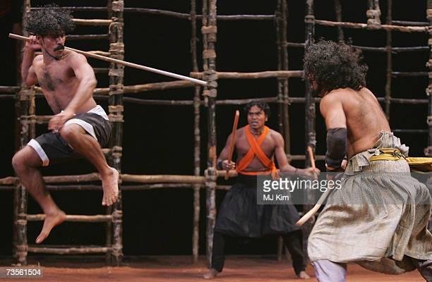 M Palani Tapan Das and D Padmakumar perfom on the stage during the photocall for the musical A Midsummer Night's Dream at the Roundhouse on March 13...