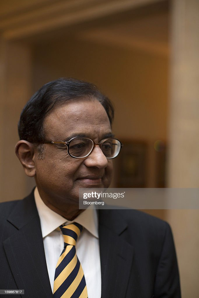 Palaniappan Chidambaram, India's finance minister, leaves a media briefing in Hong Kong, China, on Tuesday, Jan. 22, 2013. Chidambaram said that the final call on interest rates rests with the Reserve Bank of India. India's government has taken corrective measures to curb its budget deficit and sees no case for a rating downgrade to junk, Chidambaram told investors in Hong Kong today. Photographer: Jerome Favre/Bloomberg via Getty Images