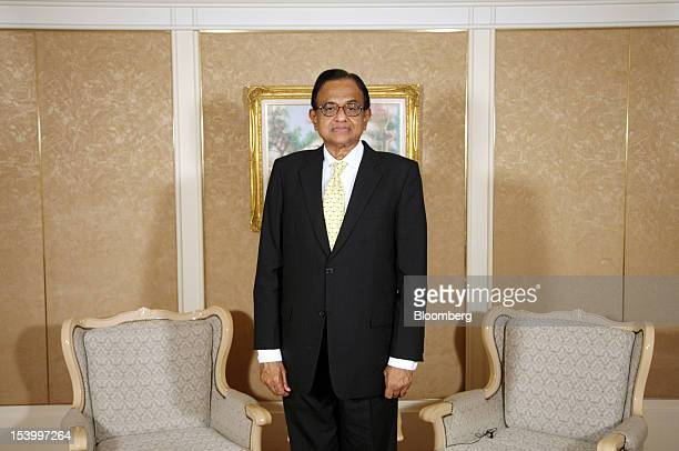 Palaniappan Chidambaram india's finance minister poses for a photograph after an interview at the Annual Meetings of the International Monetary Fund...
