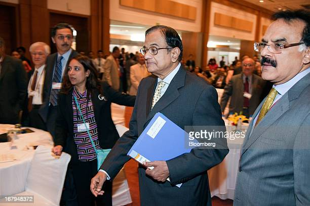 Palaniappan Chidambaram India's finance minister second right arrives to speak at the Asian Development Bank's annual meeting in New Delhi India on...