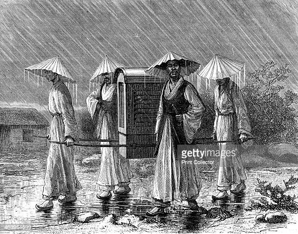 Palanquin bearers in rain costume Korea 19th century