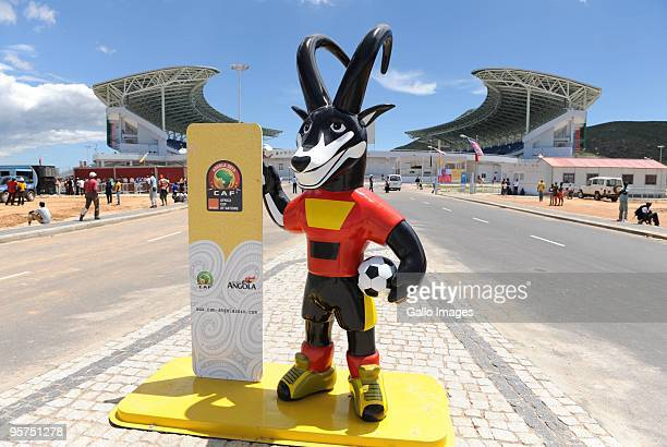 Palanquinha the mascot of the Africa Cup of Nations is pictured outside Alto da Chela Stadium during the Africa Cup of Nations match between Cameroon...
