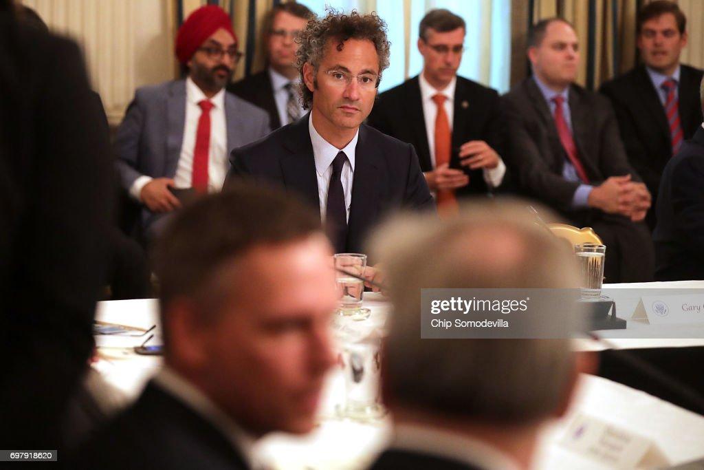Palantir CEO Alex Karp looks on as venture capitalist and Founders