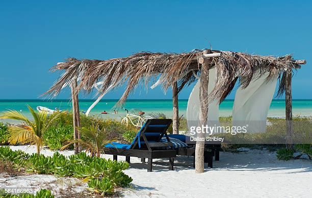 palapa on the beach in holbox island mexico - isla holbox fotografías e imágenes de stock