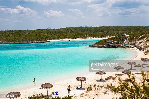 Palapa umbrella on the beach, Exuma, Bahamas