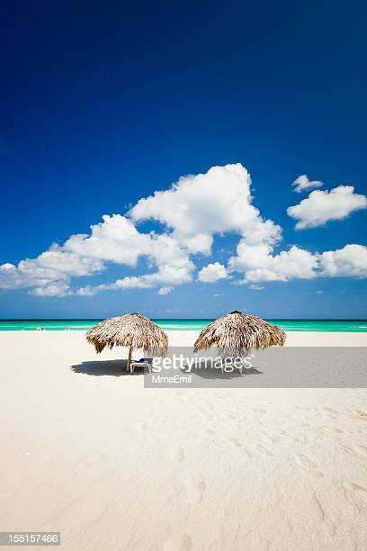 palapas on the beach - varadero beach stock pictures, royalty-free photos & images