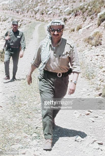 Palastinian Fatah leader and Palestine Liberation Organisation member, Yasser Arafat pictured visiting Fatah military positions in Jordan in May 1968.