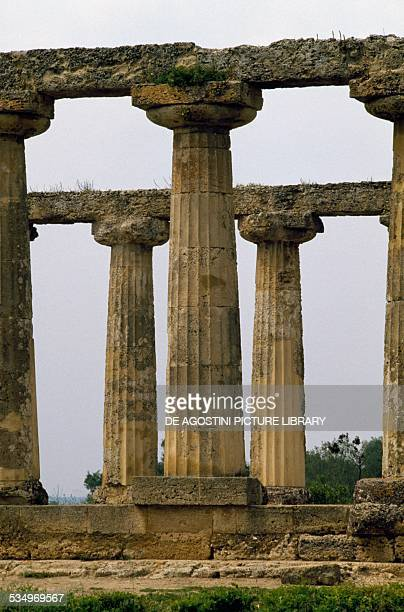 Palatine tables Doric temple dedicated to Hera 6th century BC Metaponto Basilicata Italy Detail