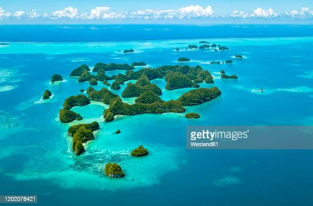 palau, aerial view of seventy islands - pacific ocean stock pictures, royalty-free photos & images