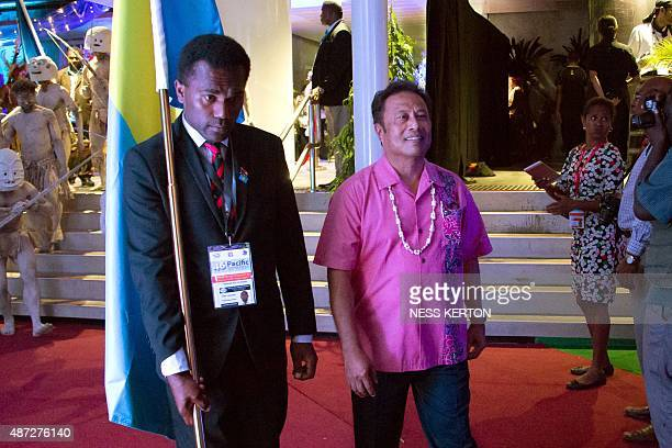 Palau President Tommy Rememgesau arrives for the official opening of the 46th Pacific Islands Forum in Port Moresby on September 8 2015 The 16nation...