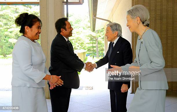 Palau President Tommy Remengesau and his wife Debbie Remengesau are welcomed by Emperor Akihito and Empress Michiko prior to their meeting at the...