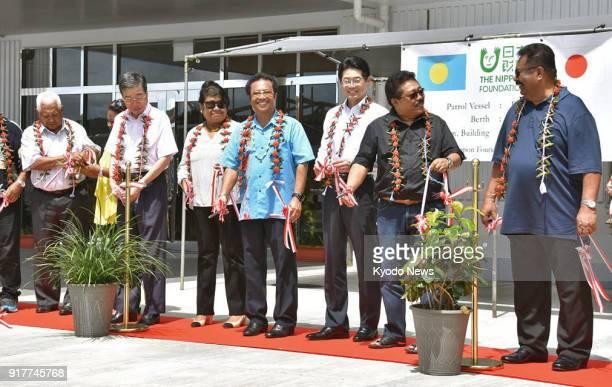 Palau President Tommy Remengesau and Mitsuyuki Unno executive director of Nippon Foundation attend a handover ceremony at Palau's Bureau of Maritime...