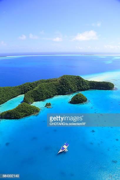 Palau's Rock Island and a boat