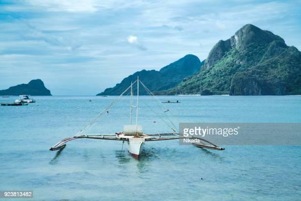 Palawan-Strand mit Boot, Philippinen