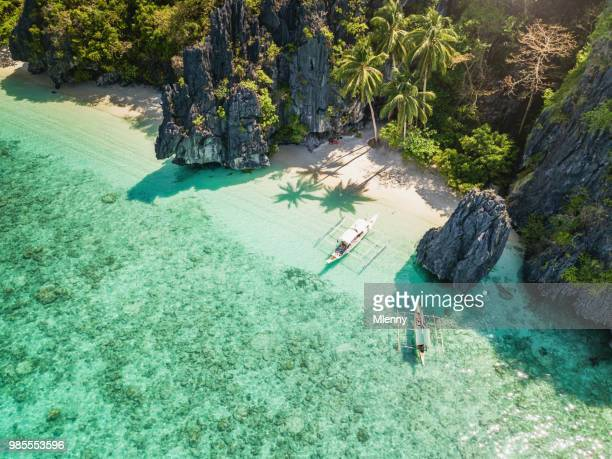 palawan el nido entalula island beach philippines - idyllic stock pictures, royalty-free photos & images