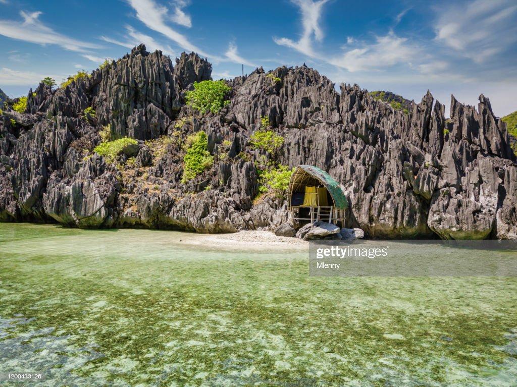 Palawan Lonely Beach Hut Tapiutan Island El Nido Philippines : Stock Photo