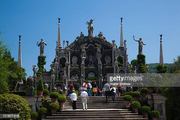 Palazzo Borromeo terraced gardens, Isola Bella, Borromean Islands, Stresa, Lake Maggiore, Piedmont, Italy