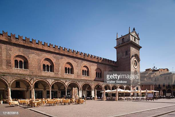 palazzo broletto and clocktower, piazza broletto, mantua, lombardy, italy - mantua stock pictures, royalty-free photos & images