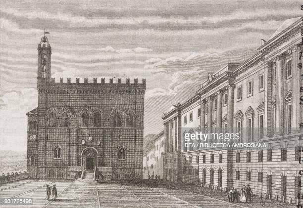 Palazzo dei Consoli and Palazzo Brancaleoni in Piazza Grande, Gubbio, Umbria, Italy, engraving from L'album, giornale letterario e di belle arti,...