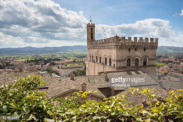 palazzo dei consoli in gubbio, umbria italy - gubbio stock pictures, royalty-free photos & images