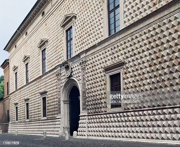 Palazzo dei Diamanti , rusticated exterior, Ferrara , Emilia-Romagna, Italy.