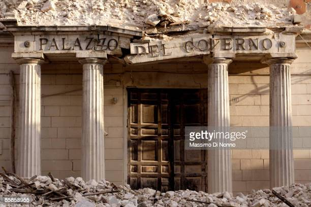 Palazzo del Governo of L'Aquila is completely destroyed on April 7, 2009 in L'Aquila, Italy. The 6.3 magnitude earthquake tore through central Italy...