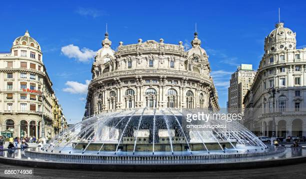 'palazzo della borsa' great fountain at central place in genoa - genoa stock pictures, royalty-free photos & images