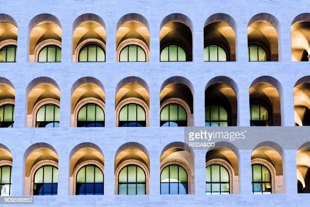 Palazzo della Civilta Italiana palace of Rome at dusk. EUR. Rome. Lazio. Italy. Europe.