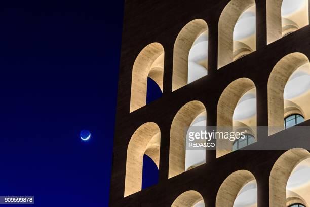 Palazzo della Civilta Italiana palace or square Colosseum at dusk. EUR. Rome. Lazio. Italy. Europe.