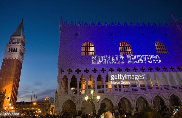 Palazzo Ducale is lit with the words Segnale Ricevuto during 'Waves upon Waves' experiment on June 24 2011 in Venice Italy Waves upon Waves was a...