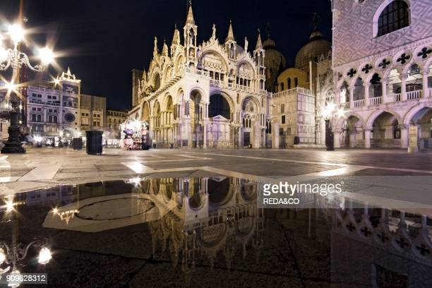 Palazzo Ducale palace and Piazza San Marco square at night Venezia Venice Veneto Italy Europe