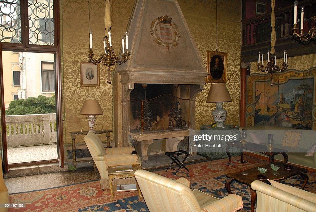 Palazzo Polignac, Venedig, Italien, Europa, Palast, Innen, Wohnzimmer, Kamin