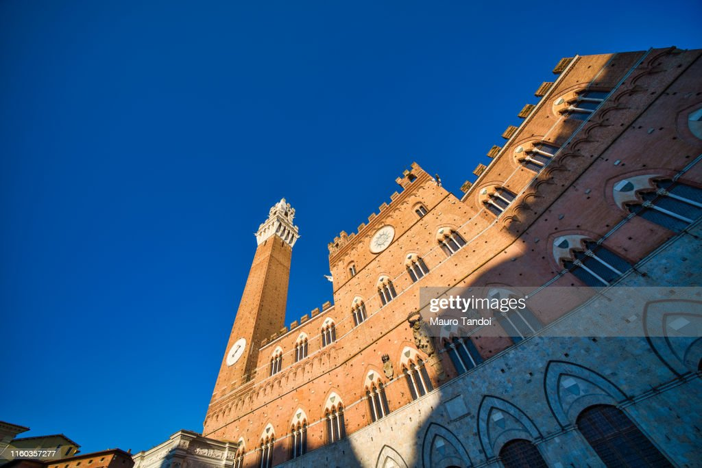 Palazzo Pubblico at dusk, Siena, Tuscany, Italy : Foto stock